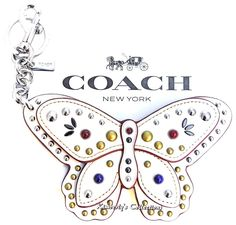 COACH Handbag White BUTTERFLY Key Chain Large Applique Purse Charm F58996 NWT  | eBay