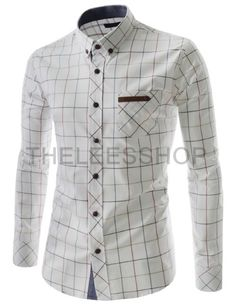 (RDLS04-WHITE) Mens Stylish Slim Fit Button Down Check Pattern Long Sleeve…