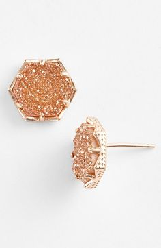 Rose gold drusy studs
