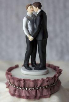 Antique Silk and Rhinestones Gay Couple Wedding Cake Topper