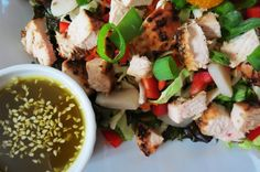 Chinese Chicken Salad - A healthy salad made with fresh vegetables and fruit that is served with a sweet Sesame dressing made with fresh oranges and organic honey.