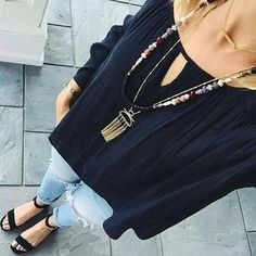 Loving the Genevieve Tassel necklace with this ensemble!| Stella & Dot