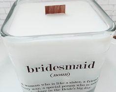 Set of 6 Bridesmaids Soy Candles ~ 12 oz Jar~ Bridesmaids Gifts~Bridesmaid Candle~Fall Wedding ~Bridesmaid Thank You~Bridal Party Gifts