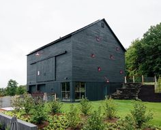 "Barn goals. From the Dwell home tour title:A Passive House and ""Sauna Tower"" Join a 19th-Century Barn in the Hudson Valley. ""While the house is a private sanctuary the barn is a gathering place especially in summer. On its lower level a studio apartment recalls the main house with its Intus windows oriented to maximize solar gain. Architect: BarlisWedlick @barliswedlick  Photo: Brian W. Ferry @brianwferry / #dwell #barn #architecture #hudsonvalley"