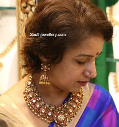 Revathy in Ruby Peacock Necklace Set - Indian Jewellery Designs Indian Jewelry Sets, Indian Jewellery Design, Jewelry Design, India Jewelry, Bridal Jewelry, Gold Jewelry, Gold Necklaces, Ear Jewelry, Diamond Jewellery