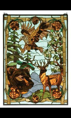 Stained glass design of animal ◆Eagle ◆Bear ◆Stag