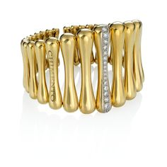 CHIMENTO Bamboo Over gold bracelet with diamonds.