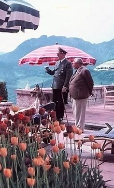 June 1, 1943 on the Berghof terrace.  Photo by Eva Braun, showing Hitler and the man who introduced the two them in 1929, Heinrich Hoffmann.