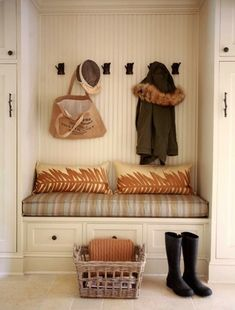 beadboard, built-in storage, bench. beadboard in nooks and cranies. more simple trimwork on base of wall. House Styles, House Interior, Mudroom Laundry Room, Mudroom, Beadboard, Home, Interior, Home Decor, Room