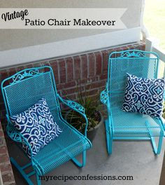 VIntage Patio Chair Makeover. With Rust-oleum Spray Paint these chairs were so easy to redo! You can find all the details @ http://myrecipeconfessions.com/