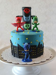 Sweets to the Sweet: PJ Masks Cake and Cupcakes Pj Masks Birthday Cake, Spiderman Birthday Cake, 5th Birthday Cake, Pj Mask Cupcakes, Kid Cupcakes, Cupcake Cakes, Torta Pj Mask, Festa Pj Masks, Paw Patrol Cake