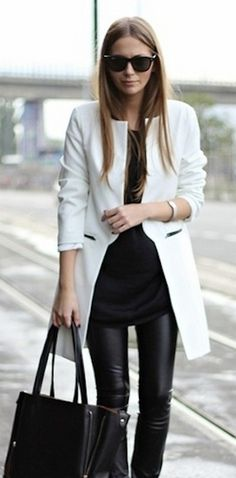 Black leather and white