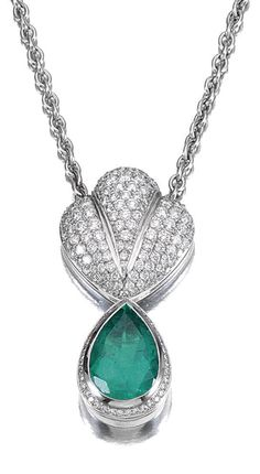 EMERALD AND DIAMOND PENDANT NECKLACE.  The fan-shaped surmount pavé-set with brilliant-cut diamonds and suspending an articulated pear-shaped emerald drop within a border of brilliant-cut stones, on a chain of curb linking, length approximately 560mm