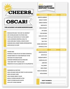Oscars 2013 free download! Drinking Game and Red Carpet Report.