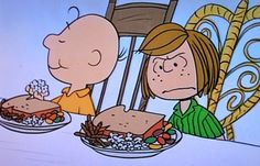 Peppermint Patty at the Thanksgiving feast Snoopy prepared