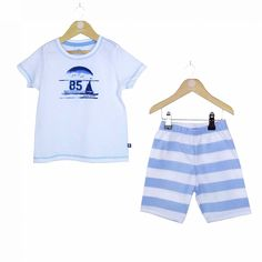 a3b447b28bf0a These ocean pyjamas with a white top and blue and white striped shorts are  comfortable for your son to wear.