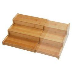 Seville Classics 3-Tier Expandable Bamboo Spice Rack Step Shelf Organizer