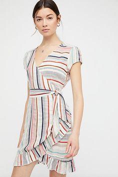 Free People striped wrap dress