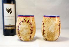 Set of 2 beautifully hand painted wine stemless wine glasses - perfect for any baseball fan!  *Wine not included.    These incredibly unique