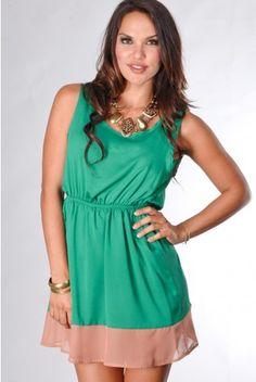 green colorblock casual dress