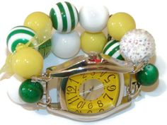 Oakland A's Chunky Beaded Watch Oakland A's Green by BeadsnTime, $30.00