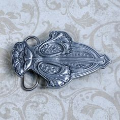 Art Nouveau Belt Buckle - Art Nouveau Buckle - Pewter Belt Buckle - Silver Belt Buckle