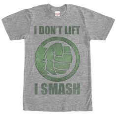 """Join the Hulk at the gym to de-stress with the Marvel Hulk Smash Heather Gray T-Shirt. This funny gray Hulk shirt is a perfect motivator with """"I don't Lift. I Smash"""" next to a graphic of Hulk's fist i"""