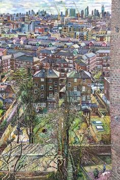 March Sunlight on Islington Gardens, Oil 122 x 76 cm £5,500. The painting is part of the New English Art Club Annual Exhibition at Mall Galleries, 14 to 22 June 2019