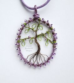 Frosted Violet tree of life pendant necklace, unique wearable wire art