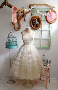 Vintage 1950s Wedding Dress XS/S  The Ingrid by BohemianBisoux