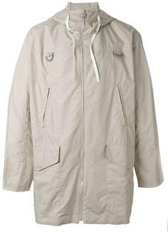 Kenzo Beige 'pull Here' Hooded Coat Mens Overcoat, Kenzo, Nike Jacket, Hoods, Raincoat, Beige, Mens Fashion, Stylish, Long Sleeve