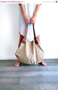 Beige leather bag- Soft leather bag - Big brown nubuck bag