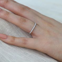 Petite Diamond Wedding Ring in 14k White Gold Half Eternity