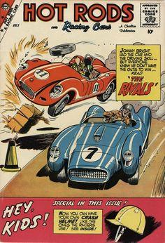 Comic Book Plus, Comic Books, Hot Rods, Book Cover Page, Vintage Racing, Vintage Auto, Vintage Cars, Charlton Comics, Racing Car Design