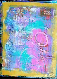 Art journal inspiration. Balzer Designs - one of her Gelli prints...