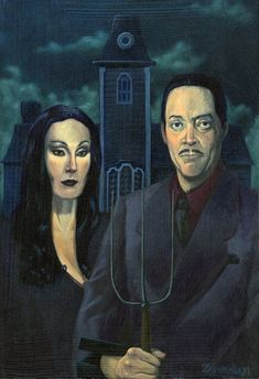 The Addams Family - American Gothic. Grant Wood, Deviant Art, American Gothic Parody, American Gothic Painting, American Art, Gomez And Morticia, Morticia Addams, Fan Art, Gothic Architecture