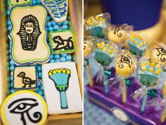 Jewel of the Nile Egyptian Spa Party by Banner Events as seen on HWTM.  Lotus flower & eye of Horus cake pops by Maski Pops by Adri.  Sugar cookies by Sugary Sweet.