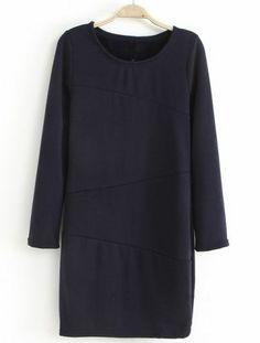 Navy Long Sleeve Dimensional Cut Straight Dress Cotton Blends $21.97