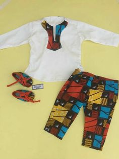 Boys set: Trouser, Shirt, Bib, Shoes made with African Print. African Dresses For Kids, African Babies, African Children, African Men, African Attire, African Clothes, African Inspired Fashion, African Print Fashion, Africa Fashion