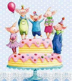 Pigs on cake artist Illustration by www.MilaMarquis.com and www.Facebook.com/MilaMarquisillustration