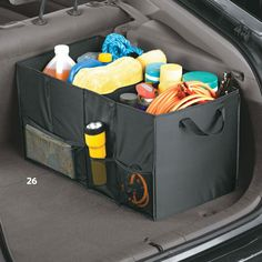 Compartment Folding Car Trunk Organizer With Picnic Cooler Bag
