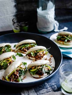 Gua bao (steamed buns) with braised pork ribs recipe from Gourmet traveller !--Gua bao (steamed buns )recipe adapted from Momofuku's David Chang recipe . This whole recipe sounds great! Pork Rib Recipes, Asian Recipes, Gourmet Recipes, Cooking Recipes, Dishes Recipes, Recipes Dinner, Dinner Dishes, Momofuku Recipes, Vietnamese Recipes
