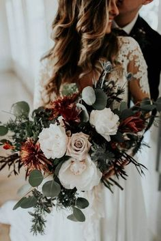 moody red copper and grey wedding bouquet ideas #weddingflowers #weddingbouquets #weddingideas