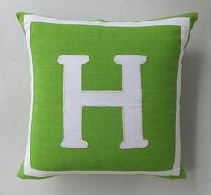 lime green and white monogram pillow cover with white letter and border. Made with cotton hand loom fabric.  Size 18X18 inches    Cushion