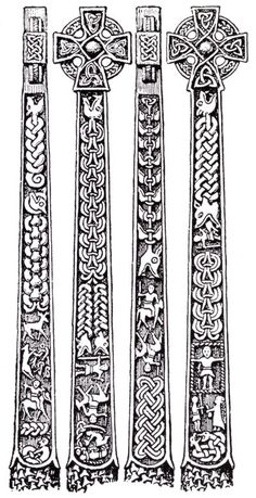 Illustrations of the Gosforth Cross designs