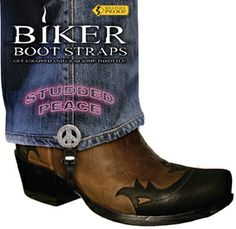 Studded Peace Biker Boot Straps