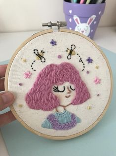 Pink Girl Embroidery Hoop Art One of a kind Original Diy Embroidery Shirt, Embroidery Hoop Crafts, Etsy Embroidery, Simple Embroidery, Hand Embroidery Stitches, Hand Embroidery Designs, Cross Stitch Embroidery, Hungarian Embroidery, Embroidery Jewelry