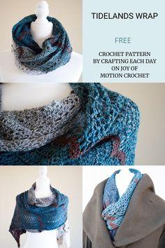 Crochet pattern for the Tidelands Wrap. Free crochet pattern by Crafting Each day. Crochet pattern for all season. Lace stitch crochet pattern idea. #crochet #crochetpattern Free Crochet, Crochet Cowls, Crochet Shawls And Wraps, Crochet Scarves, Crochet Baby Hat Patterns, Crochet Baby Hats, Baby Blanket Crochet, Crochet Ideas, Knitting Projects