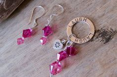 LAUGH pendant and earrings set sterling by CreativeWorkStudios Earring Set, Swarovski, Personalized Items, Pendant, Jewelry, Jewlery, Bijoux, Schmuck, Pendants
