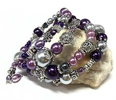 Purple Wrap Bracelet -Best Presents for Mom -Memory Wire  Bracelet -Christmas Presents for Her -Silver & Purple Bracelet -Best Gifts for Mom
